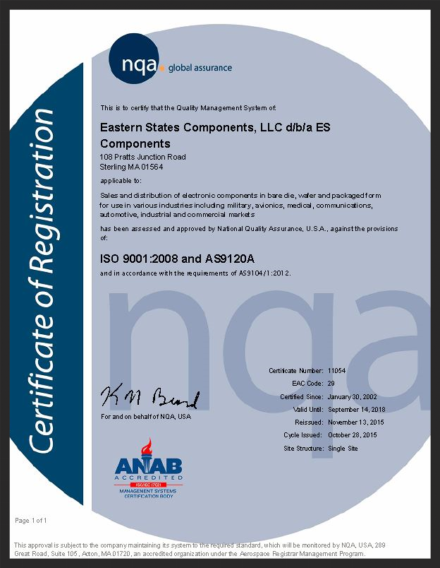 ES Components ISO 9001 and AS9120A Certification Certificate