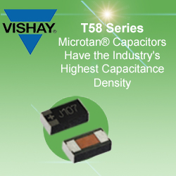 T58 Series Capacitors - > Industry-highest capacitance density: up to 47 µF, 6.3 V for 0603 case size> 10 % increase in volumetric efficiency over facedown or undertab packages allows for higher capacitance density