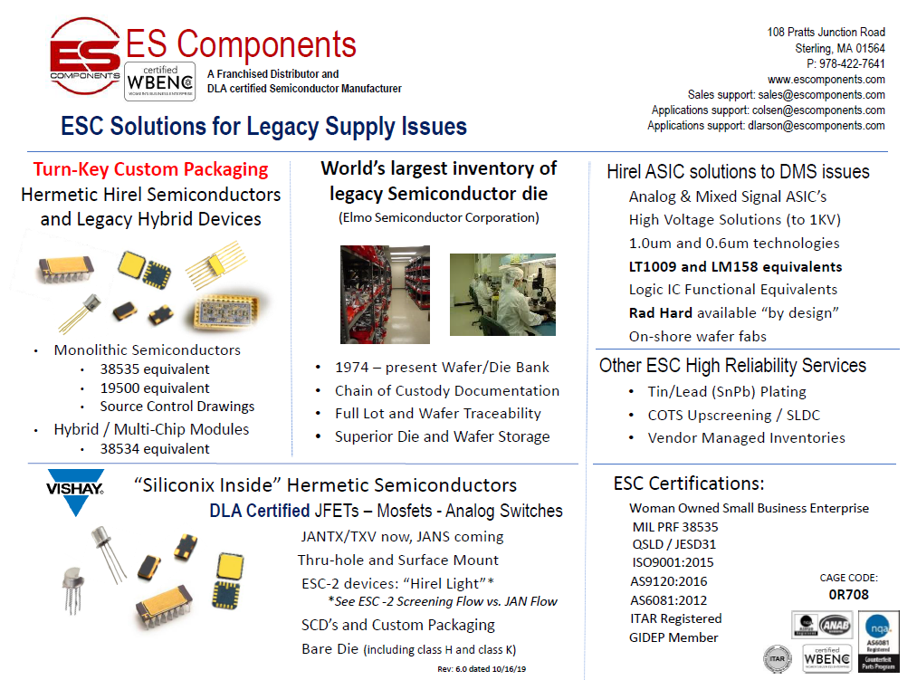 Legacy Supply Issues, World's Largest Inventory, Turn Key Custom Packaging, Siliconix Inside Hermetic Semiconductors, JFETs, Mosfets, Analog Switches