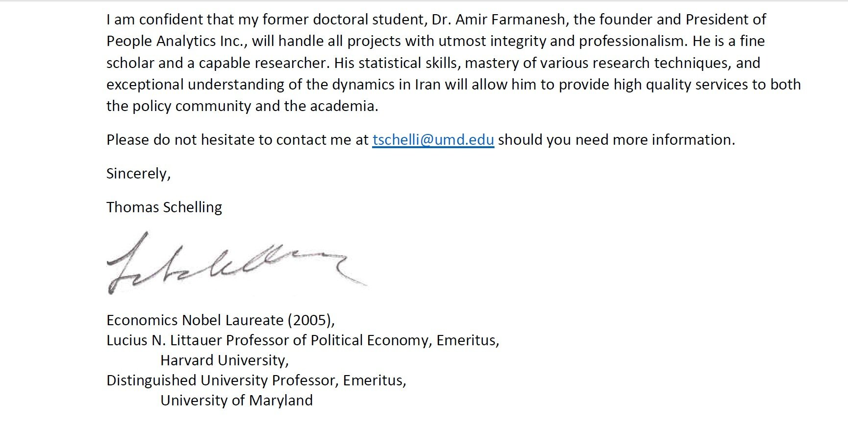 Professor Thomas Schelling letter to Amir Farmanesh in support of the IranPoll