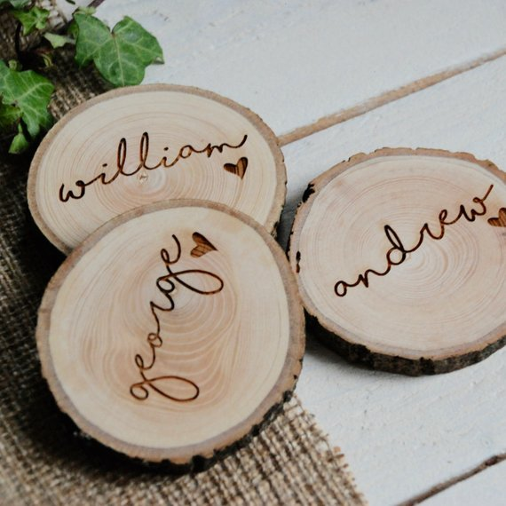 Rustic Wedding Name Place Settings By Bespoke and Oak Co.
