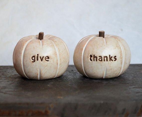 Vintage White Give Thanks Pumpkins By Skye Art