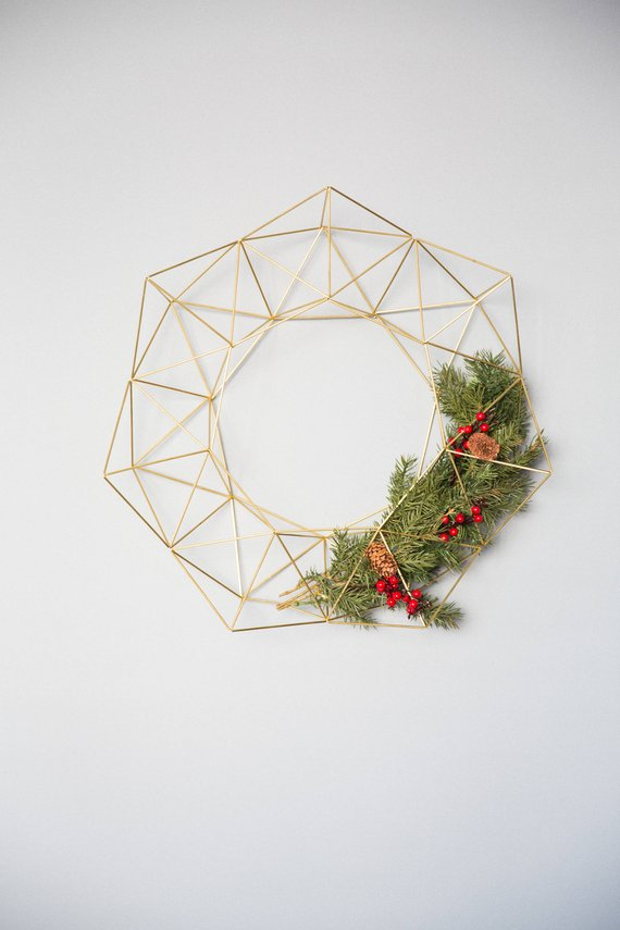 Geometric Modern Industrial Himmeli Wreath By Himmelilana