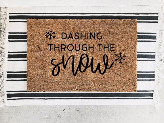 Dashing Through the Snow Doormat By The Sycamore House