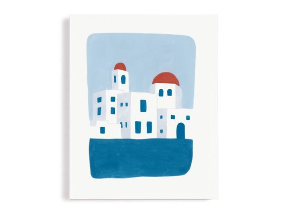 Greek Shore Wall Art Print By SaySomethingCardsSJ