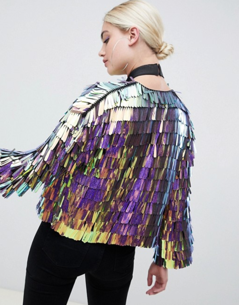 Iridescent Fringe Sequin Jacket By ASOS