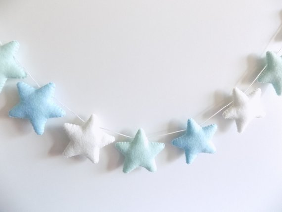 Blue and Mint Green Felt Star Garland By HouseofHenley2015
