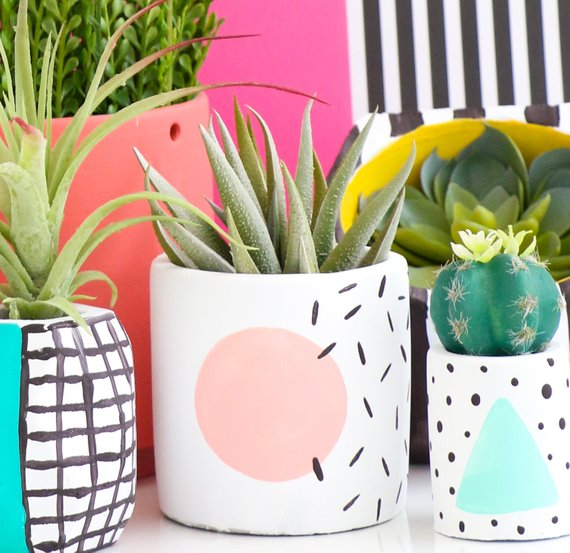 80's Style Memphis Design Small Planter By Kailochic