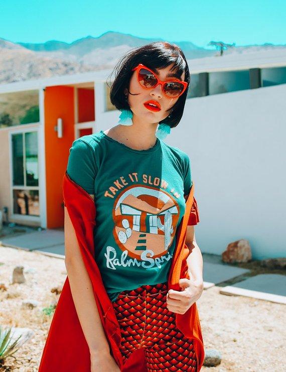 Palm Springs Emerald Vintage Retro Tee By Dazeyla