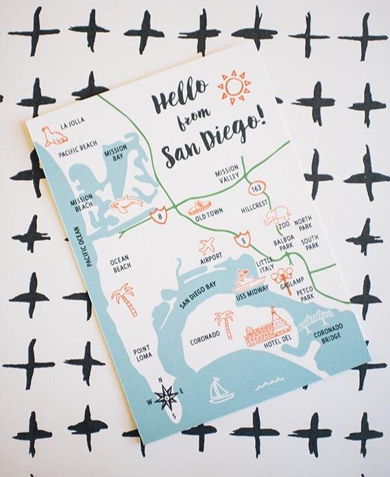 San Diego Map Postcard By HarkenPress