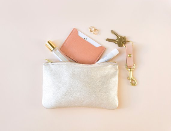 MAE Champagne Leather Clutch By AnnieBukhman