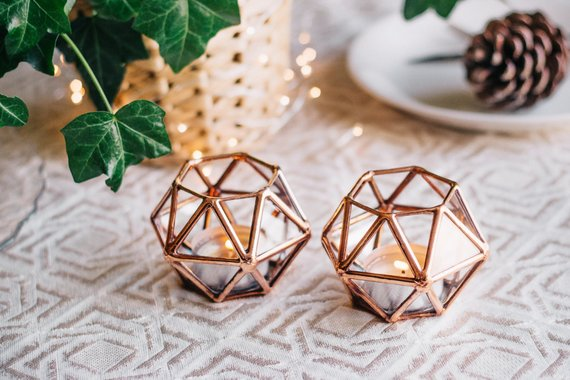 Geometric Glass Tealight Candle Holder By Waen
