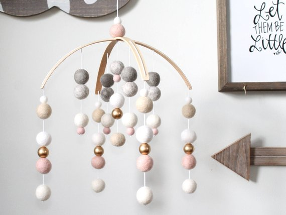 Pale Pink Neutral GOLD Felt Ball Mobile By TheRainbowBarn