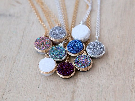 Druzy Necklace Gold Pendant By SaressaDesigns