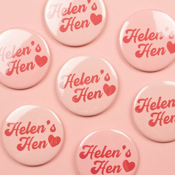 Retro Hen Party Badge By DarwinDesignsCards