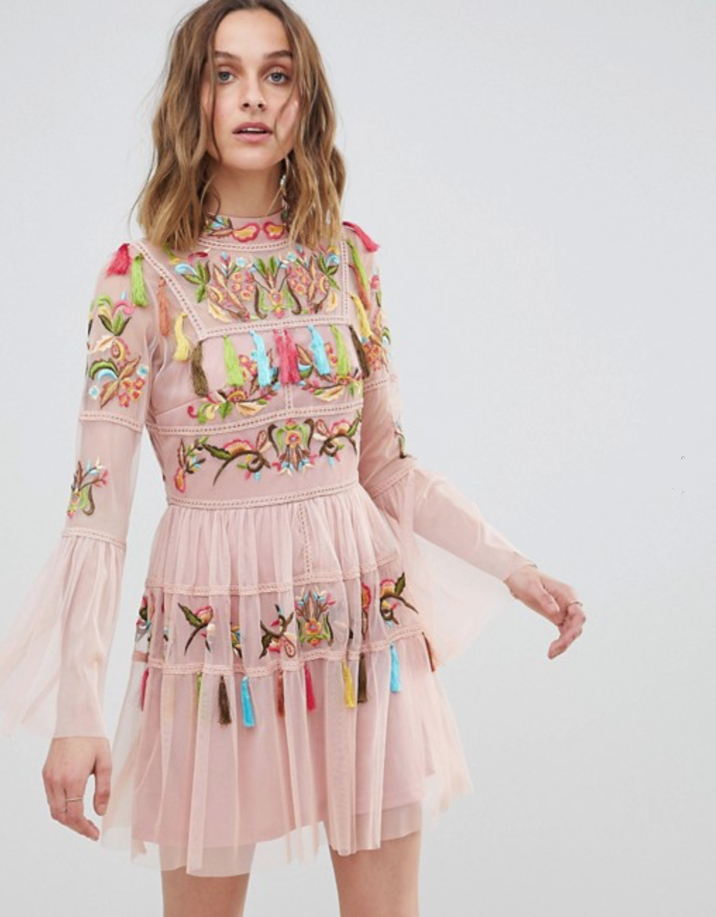 Frock And Frill Folk Embroidered Tassel Skater Dress By ASOS