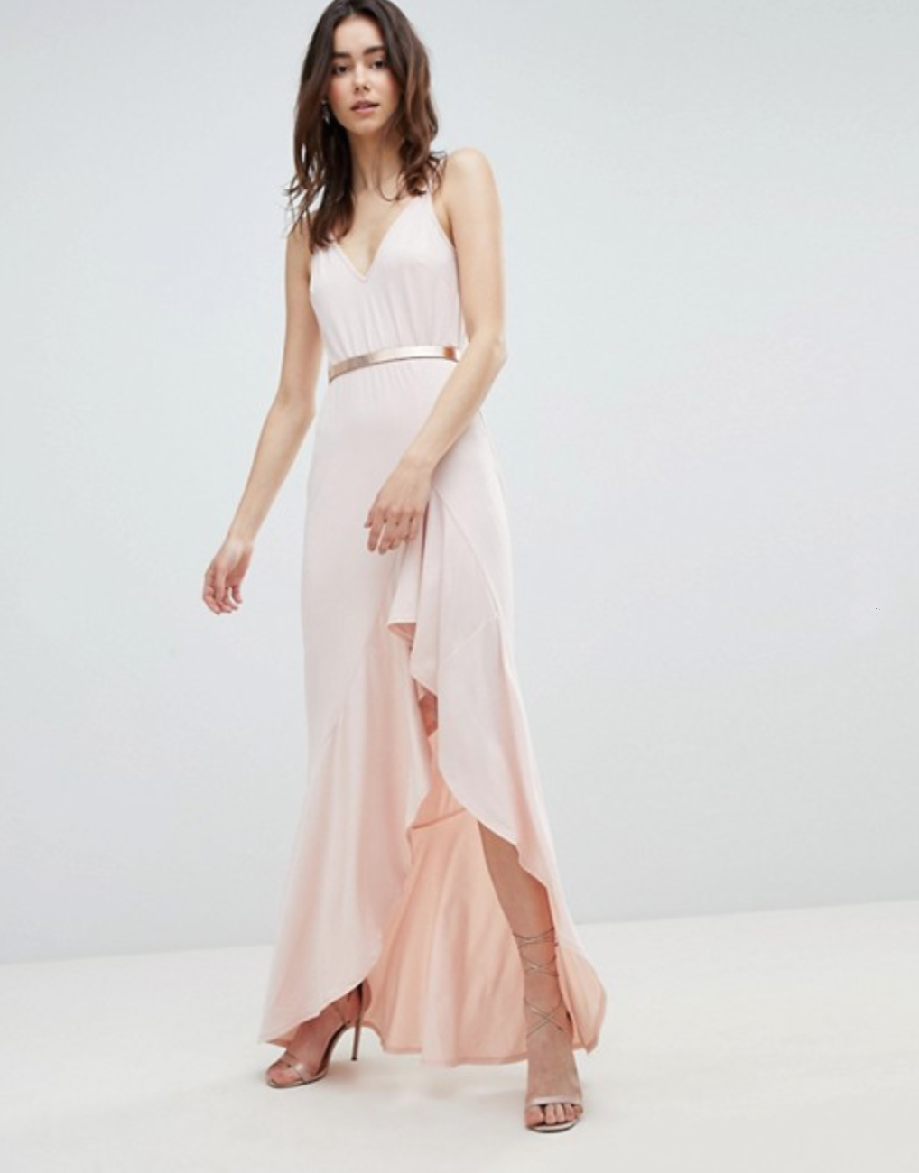 Cami Maxi Dress with Ruffle Side Split and Gold Belt By ASOS