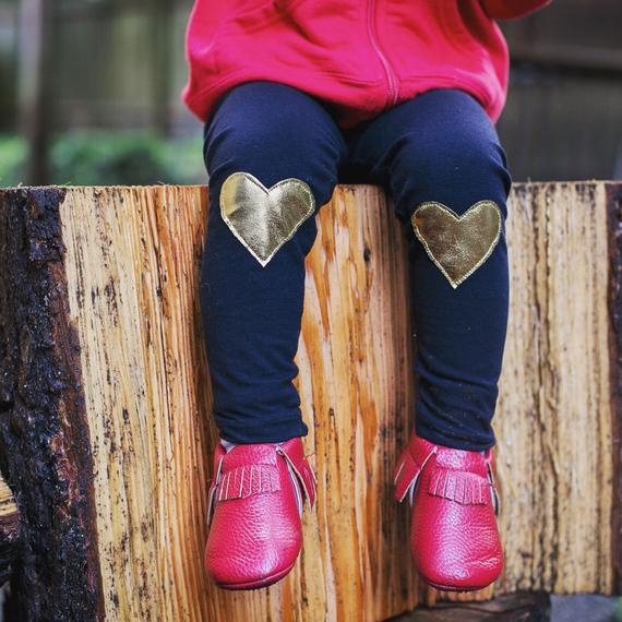 Metallic Gold Heart Patch Leggings By Skuttlebum