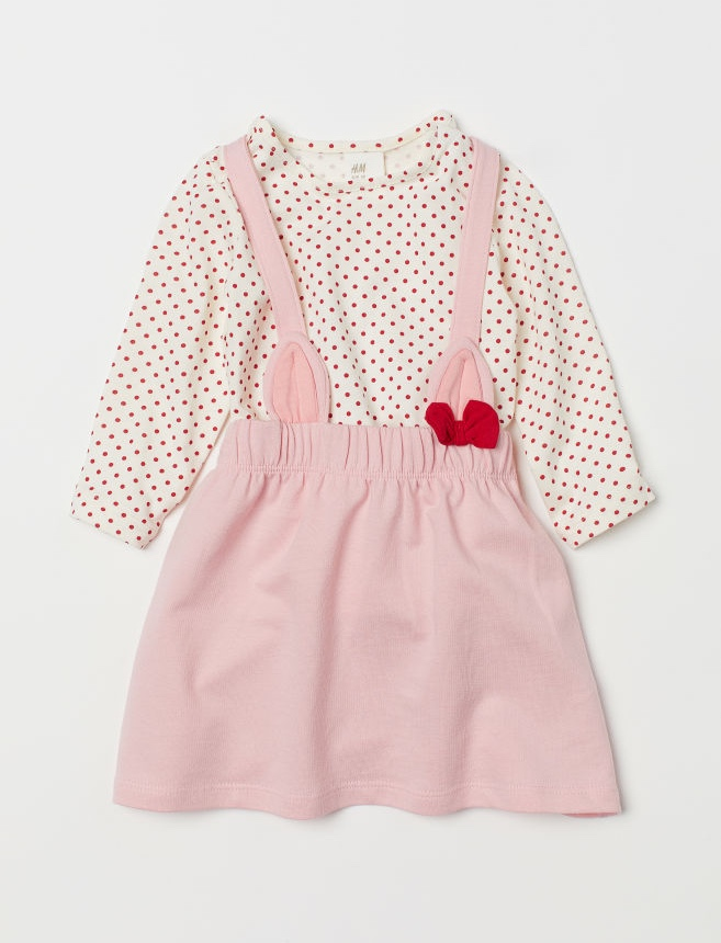Top and Bib Overall Dress By H&M