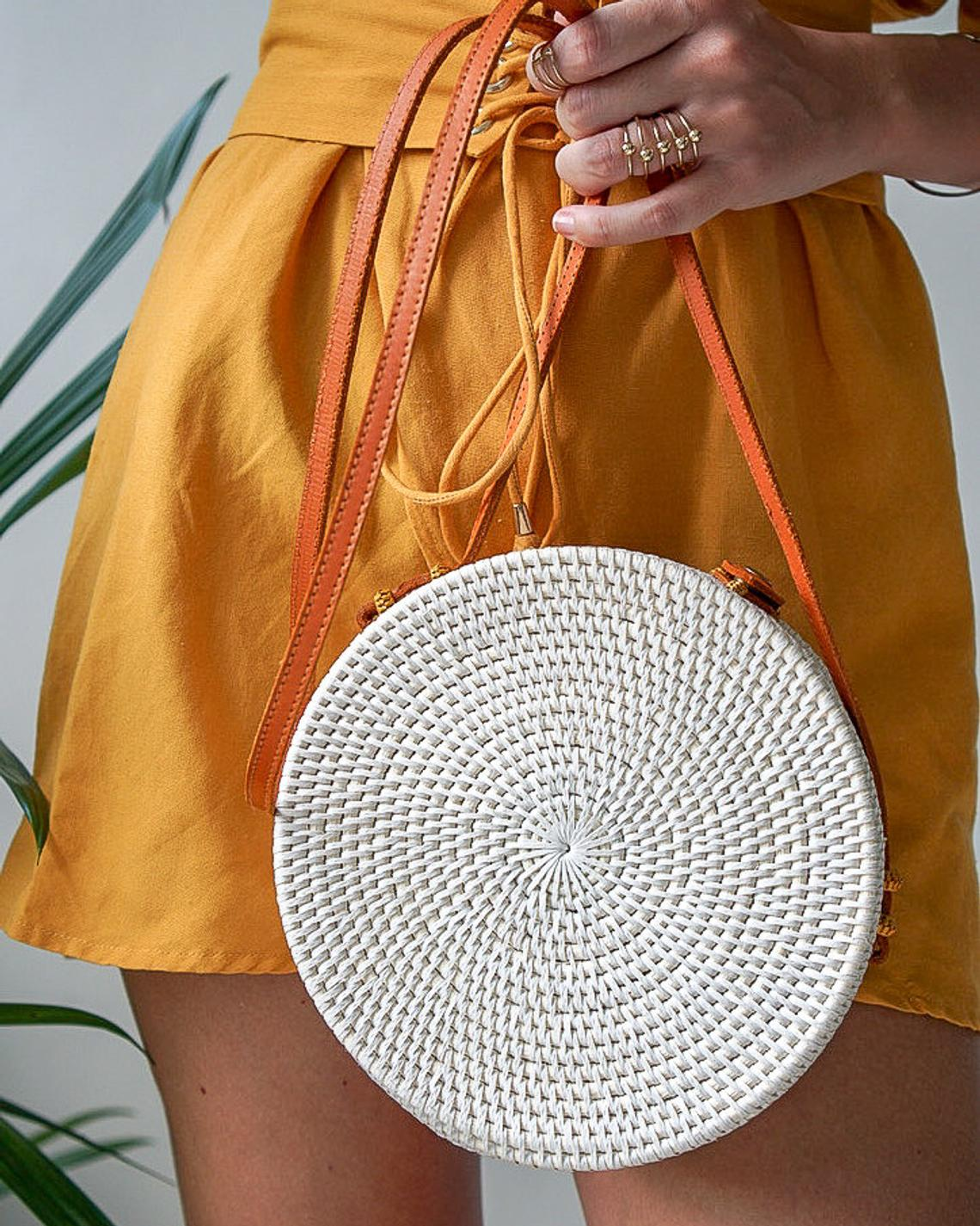 Round Bali Rattan Bag with Tassels By KaimanaShop