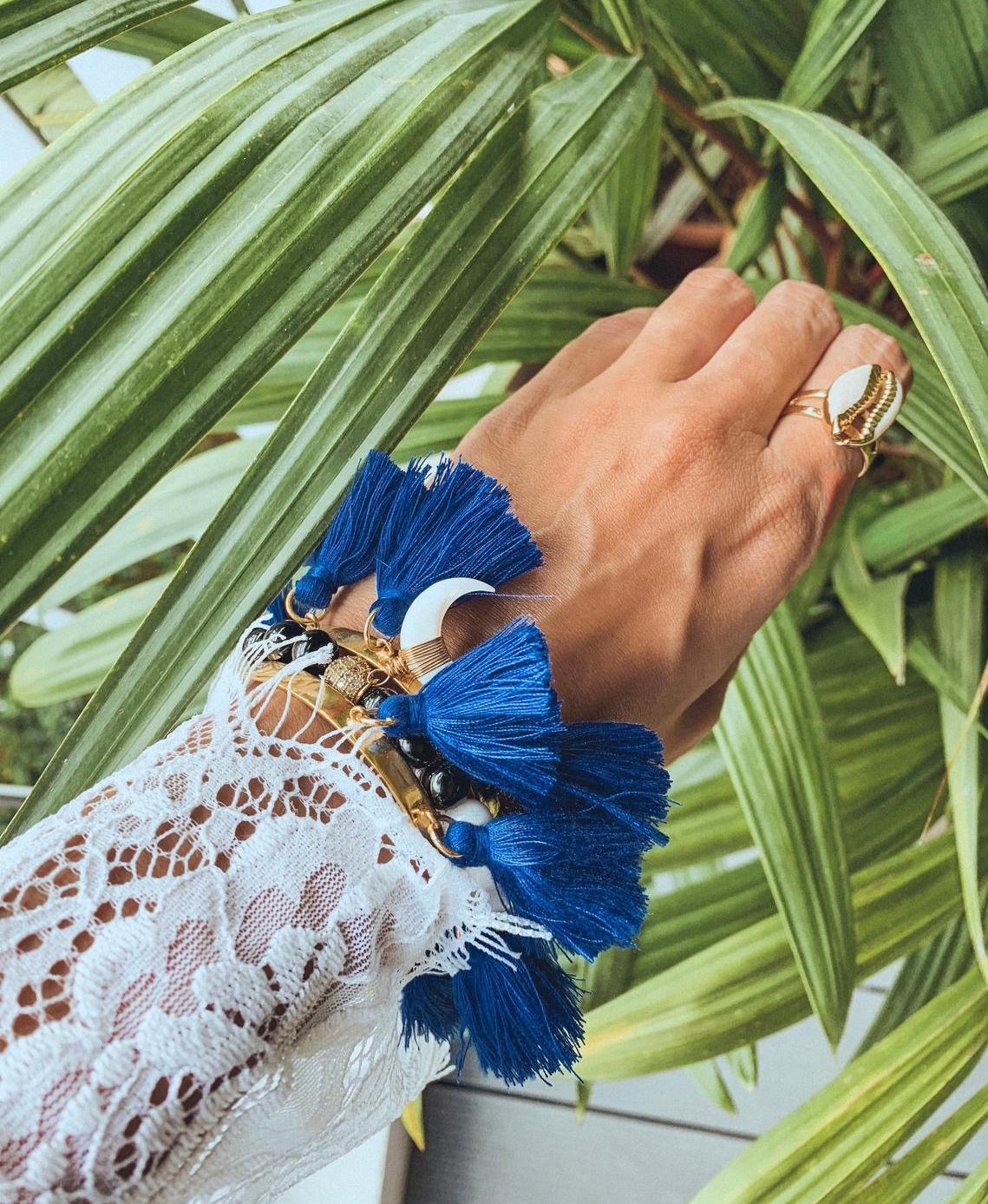 Maya Blue Tassel Bangle By KaimanaShop