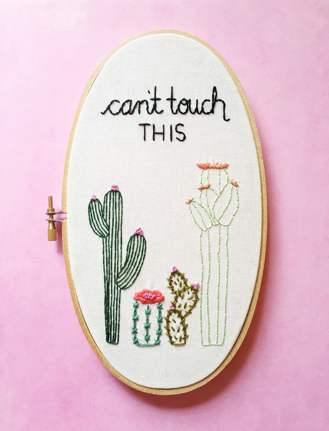 Can't Touch This Cactus Embroidery By KimArt