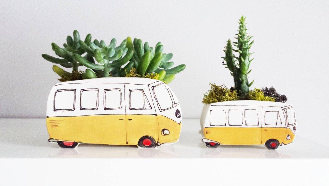 Yellow Westfalia Ceramic Planter By JulieRichardCeramist