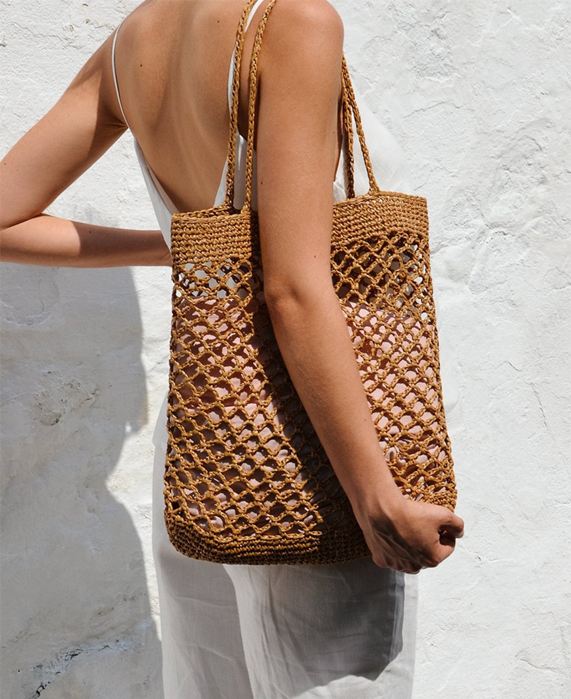 Raffia Net Bag in Tan By Plexida