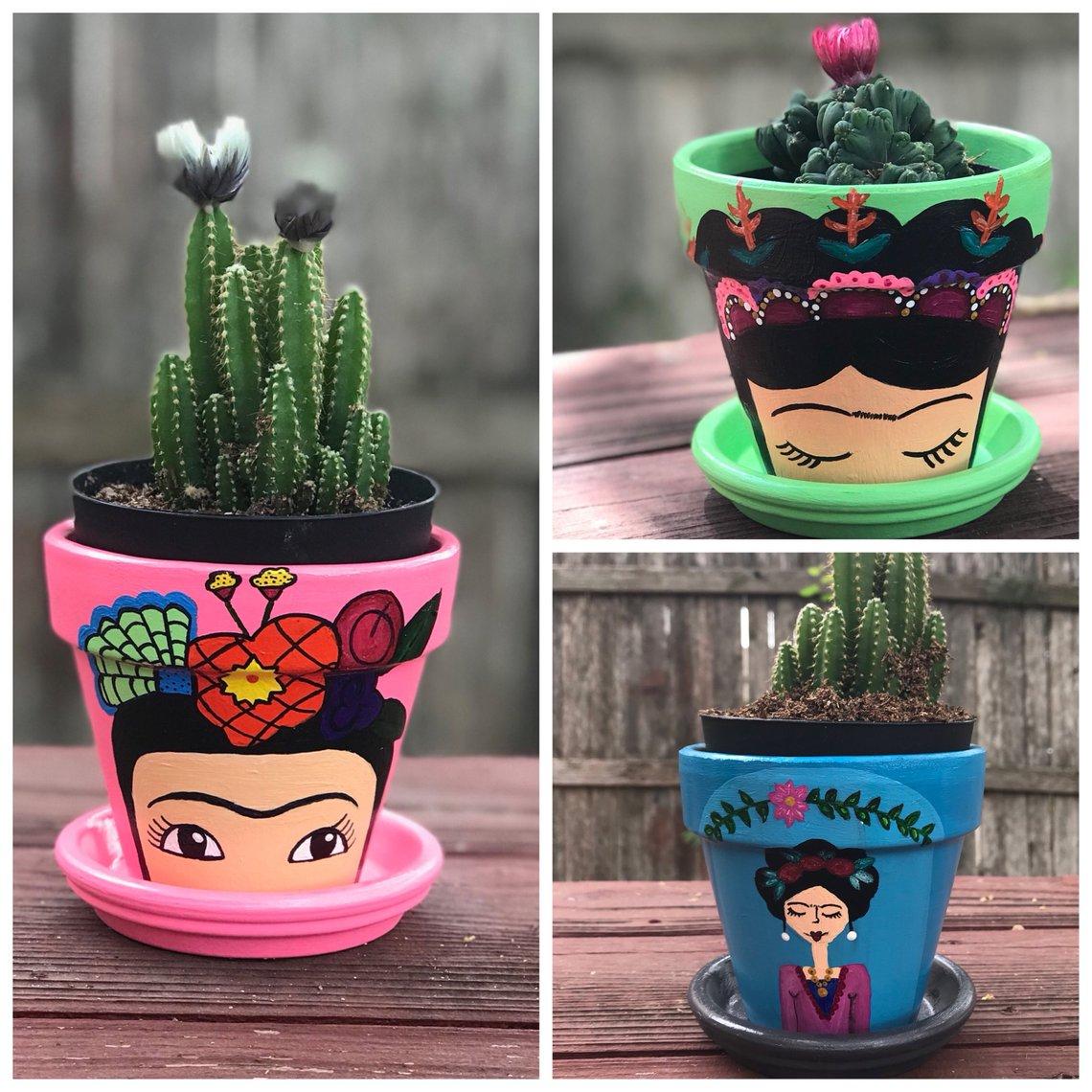 Frida Kahlo Flower Pot By ArtExpressionByKarla
