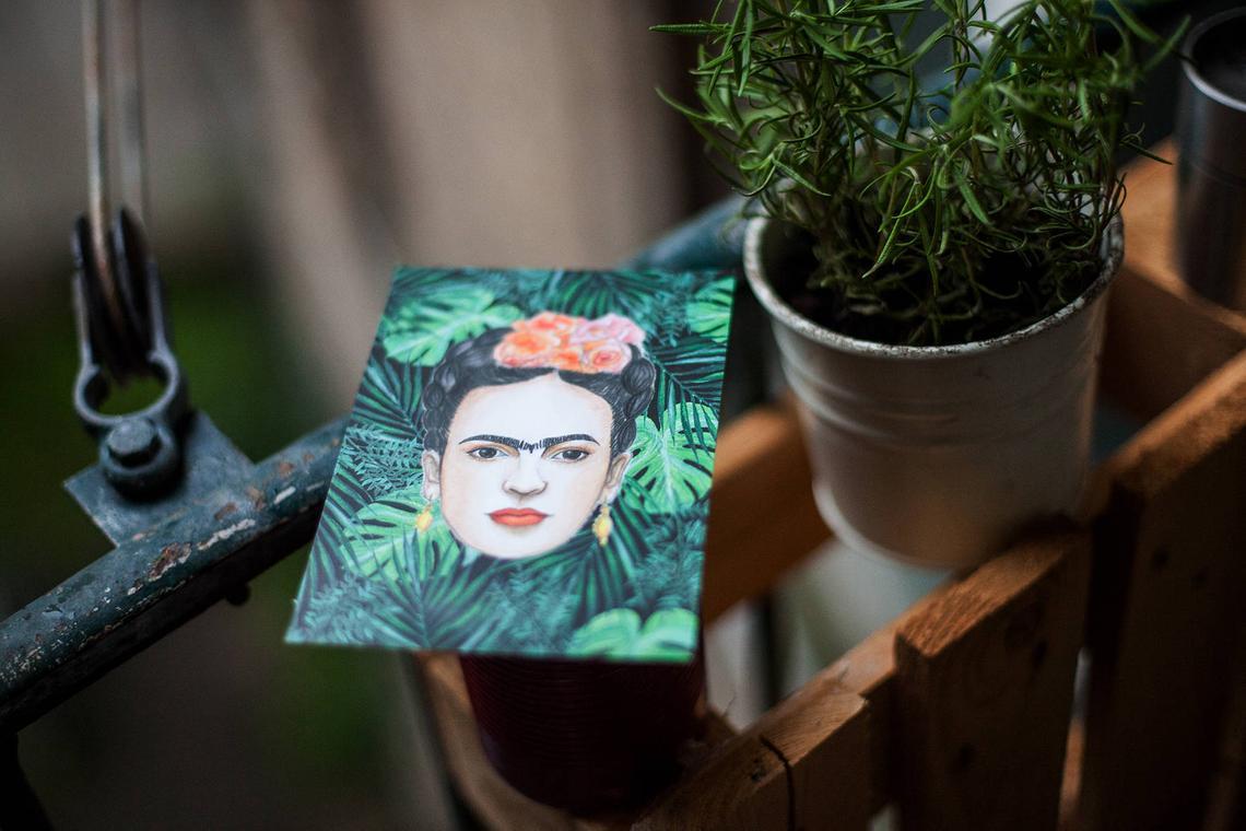 Frida Kahlo Postcard By Diewildemaurice