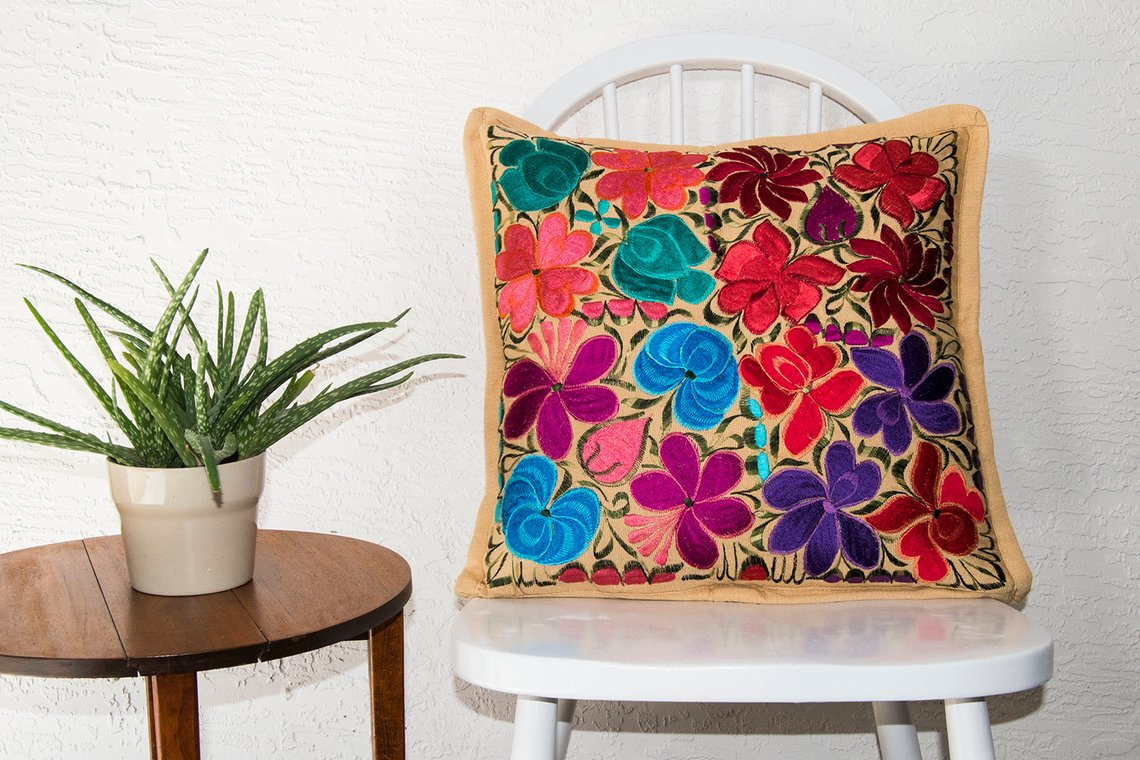 Handmade Mexican Embroidery Folk Flowers Pillow Cover By Kantedecor