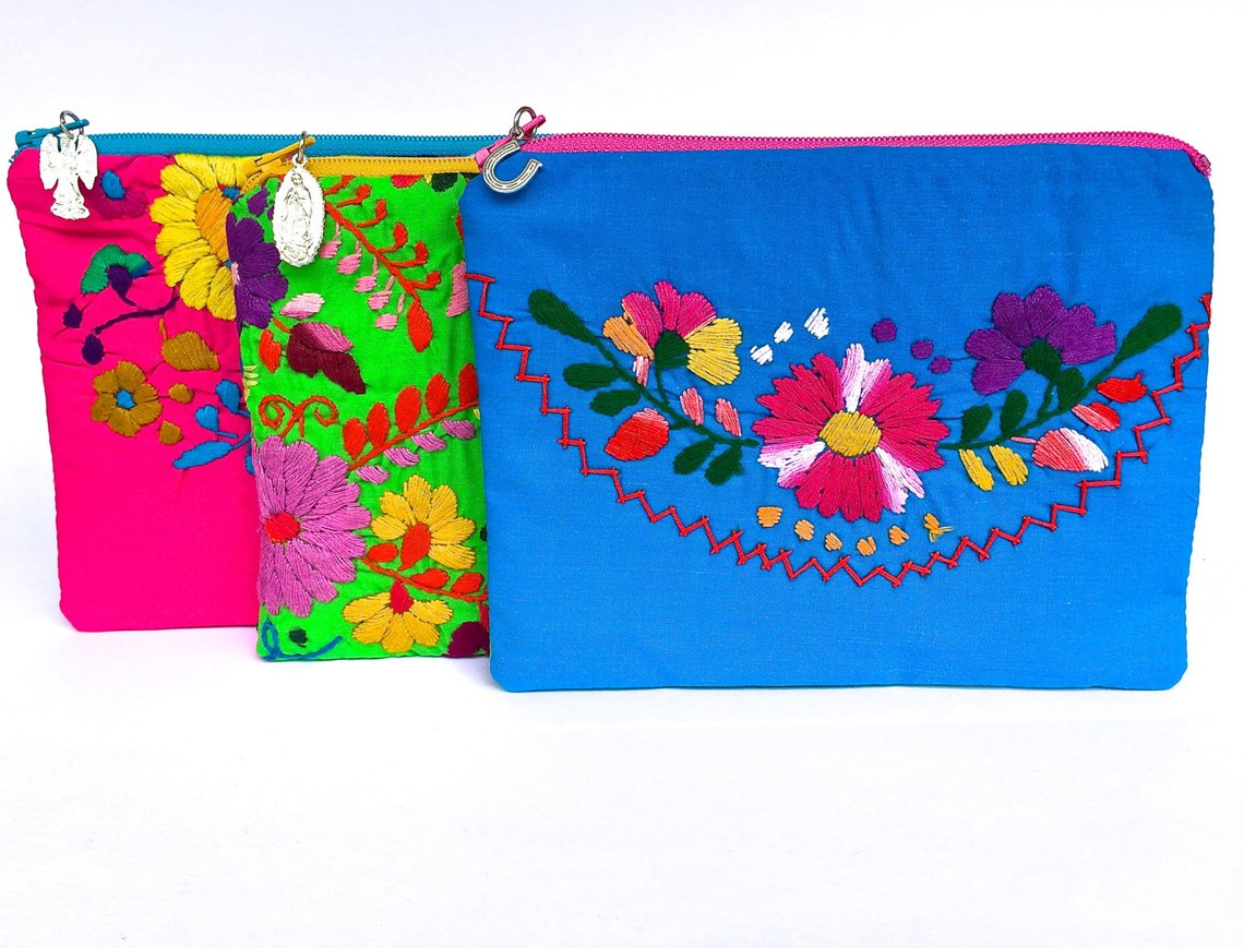 Embroidered Mexican Dress Zipper Pouch By TheBirdandPear