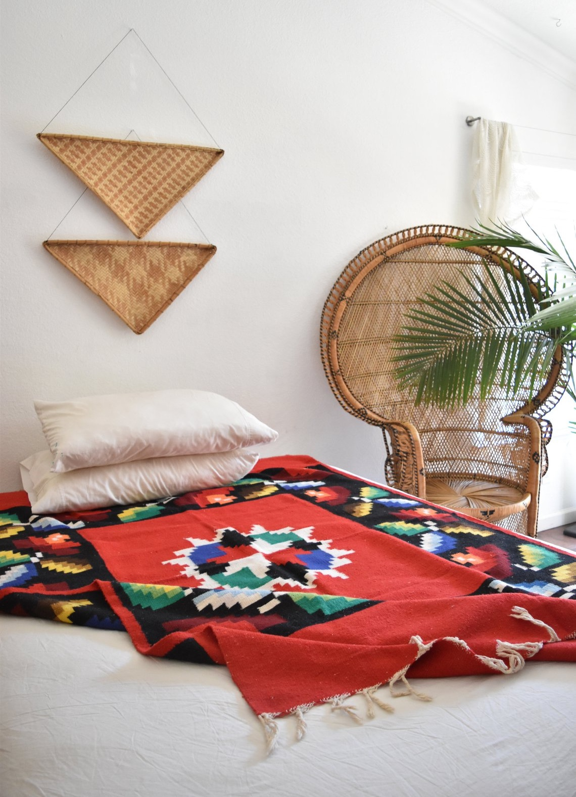 Authentic Multicolored Red Woven Wool Mexican Serape Throw Rug By Simplychi