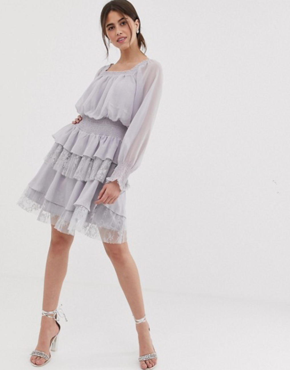 True Decadence Premium Dress with Ruffle and Lace Tiered Skirt By ASOS