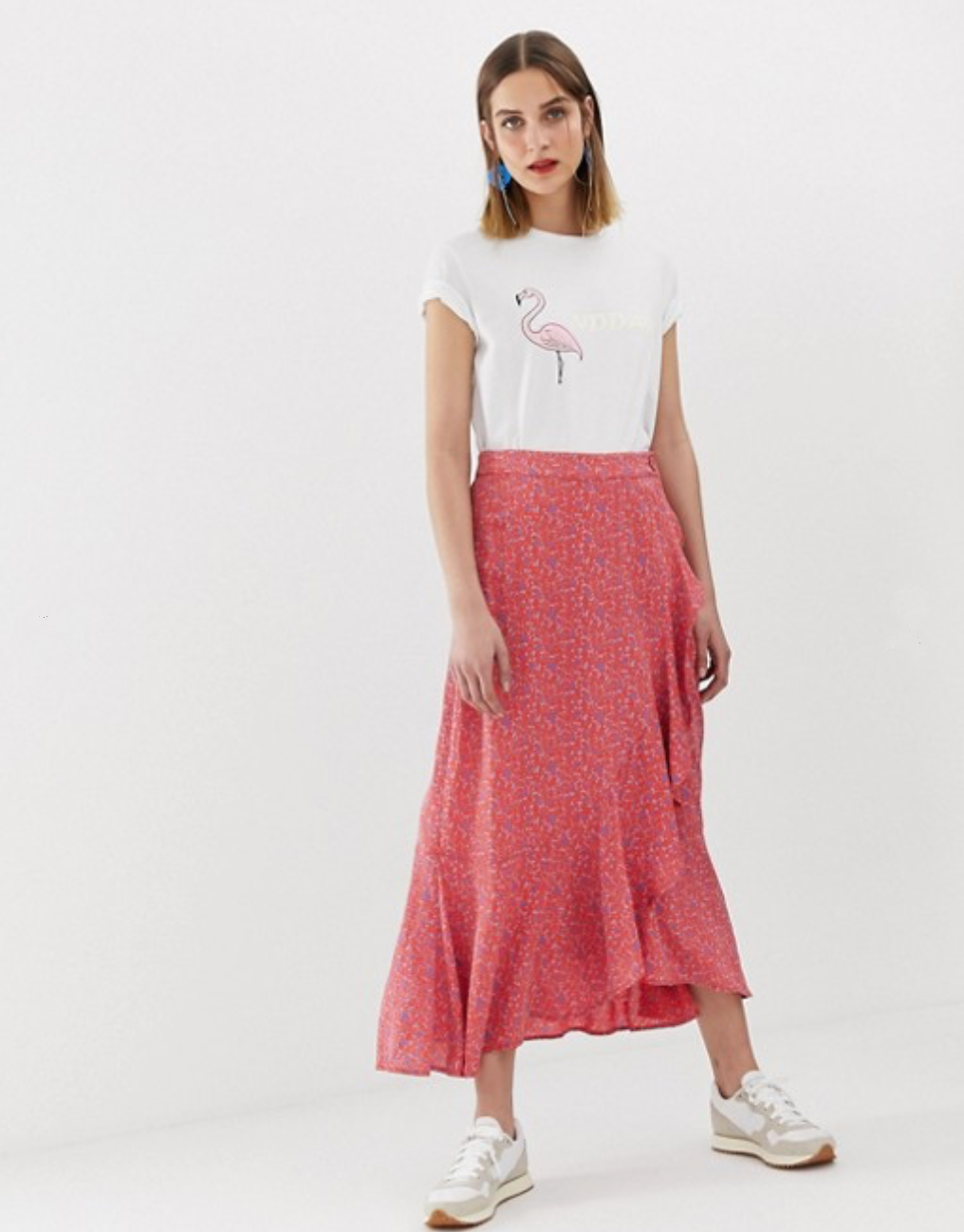 2NDDAY Printed Wrap Skirt in Midi Length By ASOS