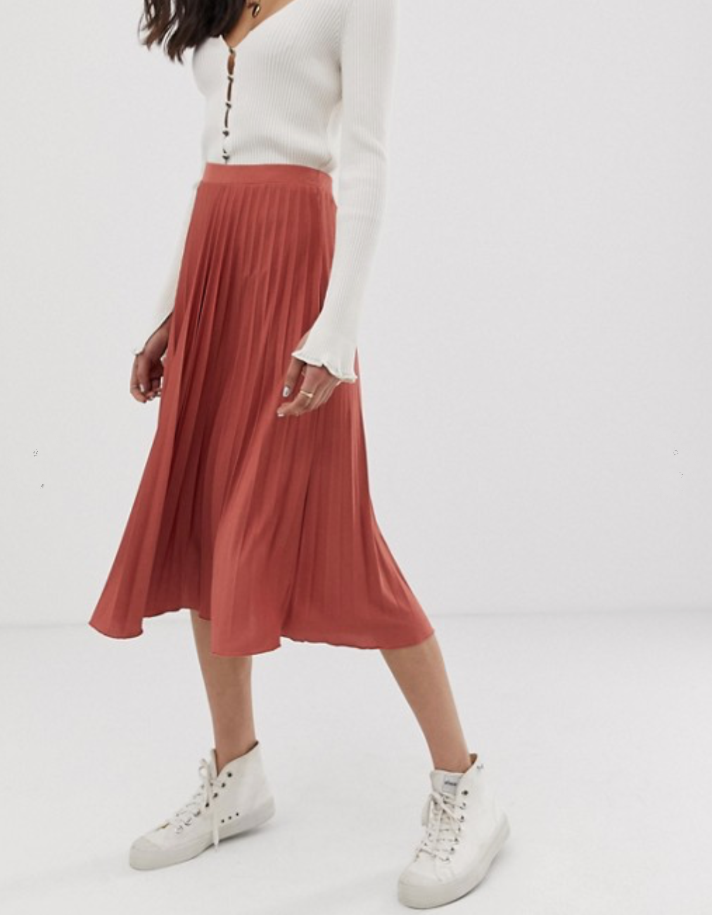 Pleated Midi Skirt in Jersey Crepe By ASOS