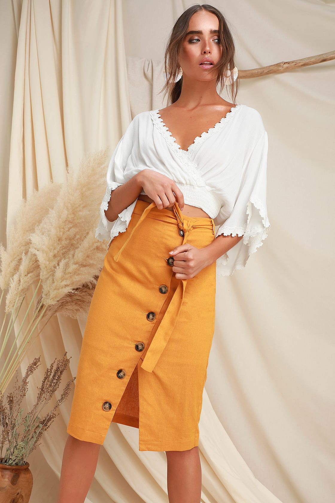 PICNIC MUSTARD YELLOW BUTTON DOWN LINEN MIDI SKIRT By Lulus
