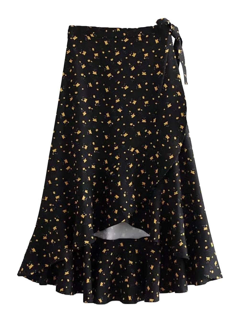 Goodnight Macaroon 'Jan' Floral Print Tied Waist High-low Skirt