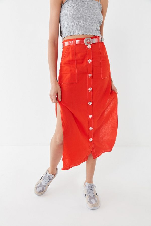 UO Lindsey Slit Button-Front Utility Skirt