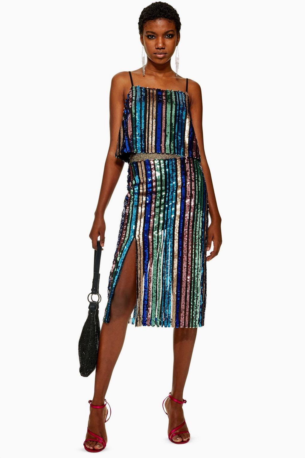 Sequin Stripe Midi Skirt By Topshop