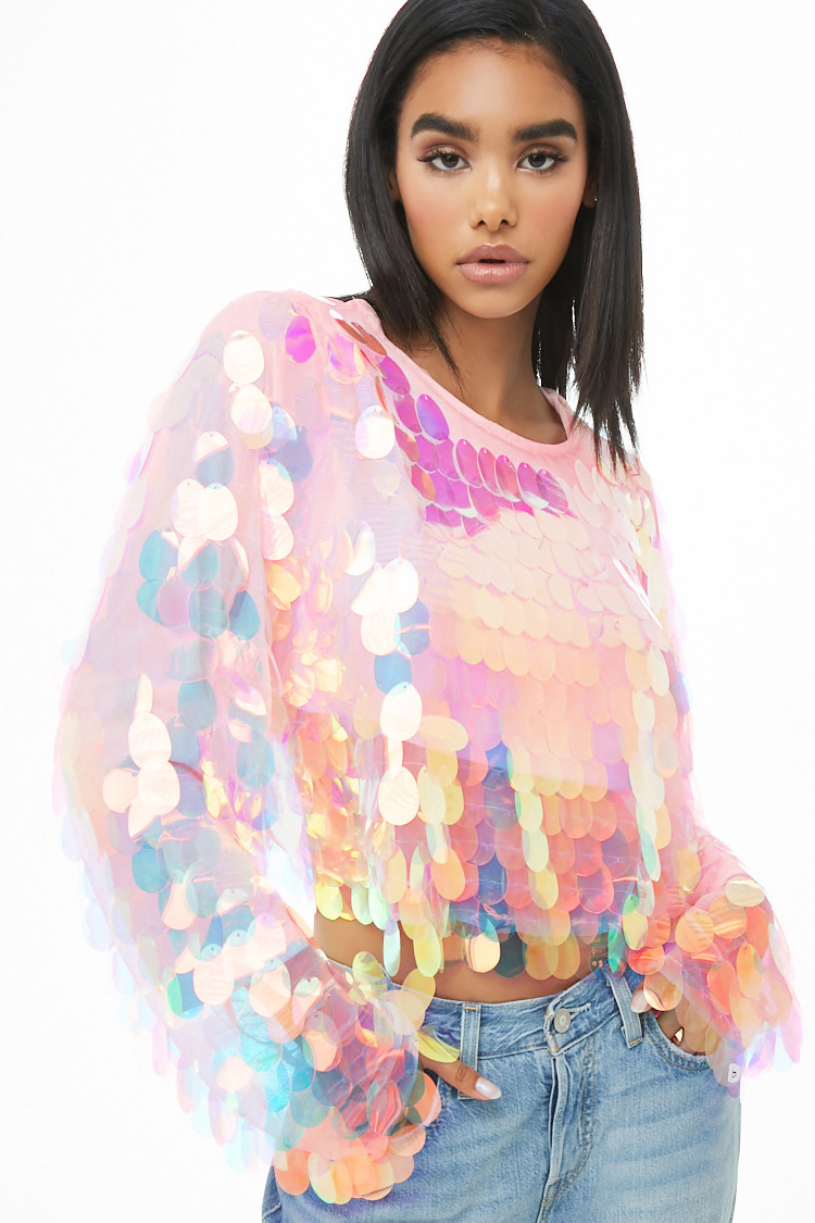 Iridescent Sequin Top By Forever 21