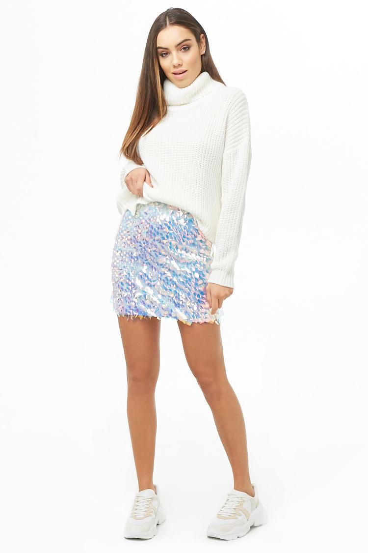 Iridescent Sequin Mini Skirt By Forever 21