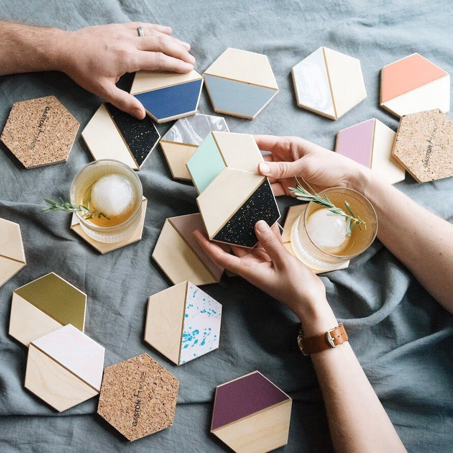 Color Pop Hexagon Coasters By GastonMade