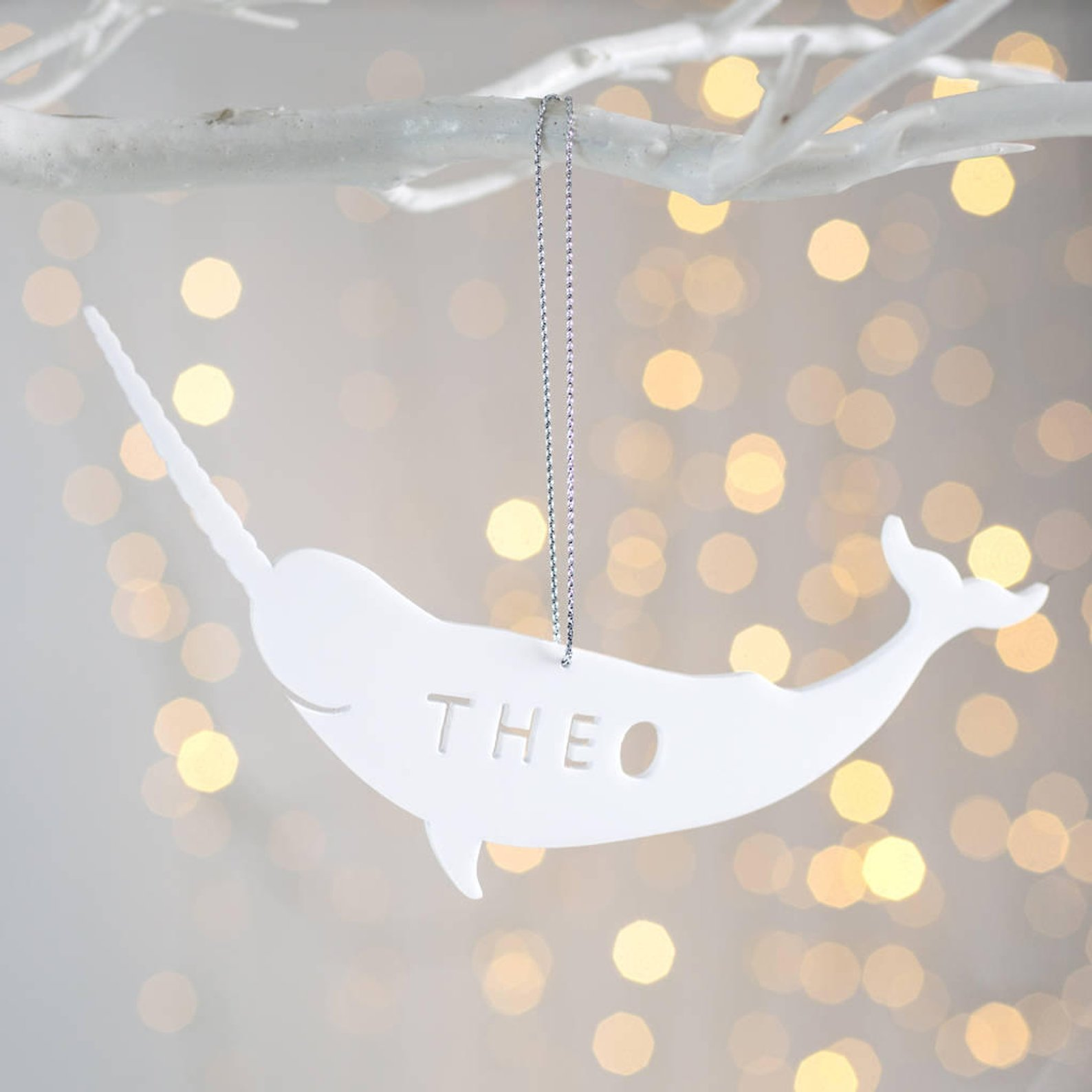 Personalized Narwhal Christmas Decoration By Twenty Seven UK
