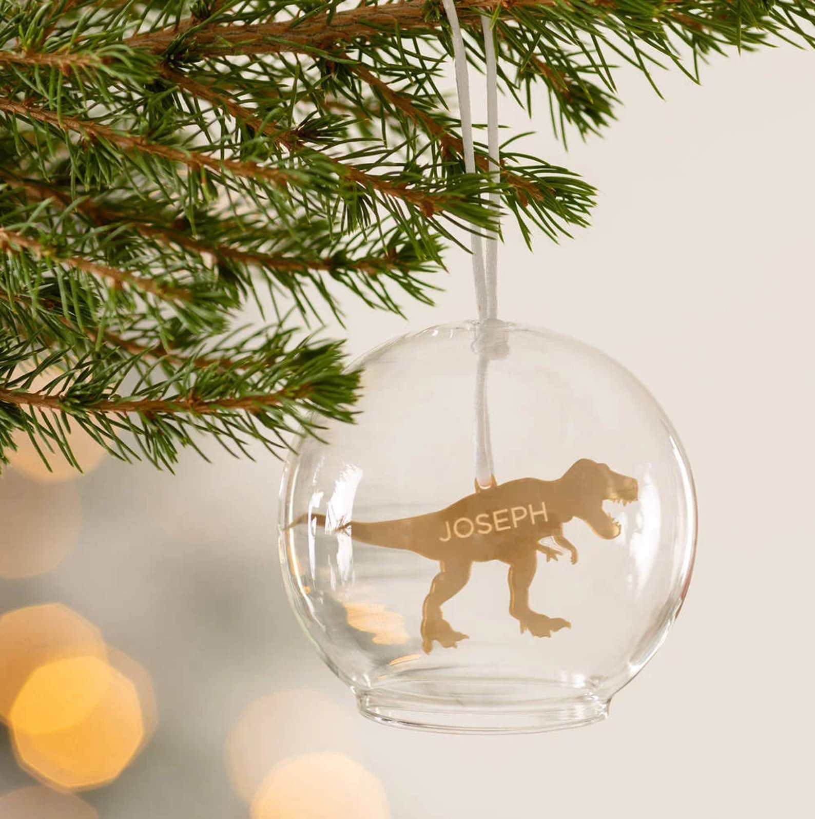 Personalized Dinosaur Glass Dome Bauble By Twenty Seven UK
