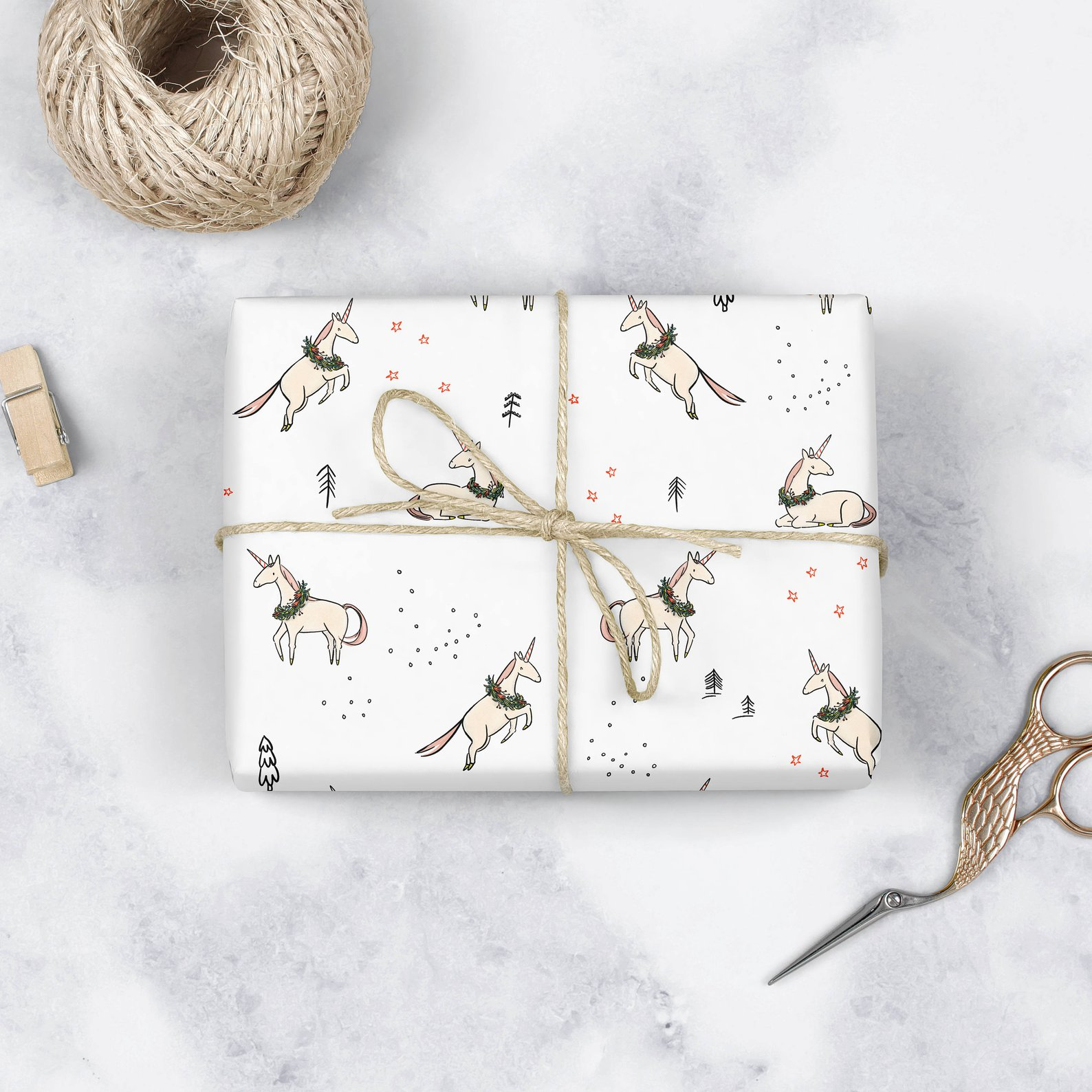 Christmas Unicorn Pattern Wrapping Paper Sheets By Abbie Illustrations
