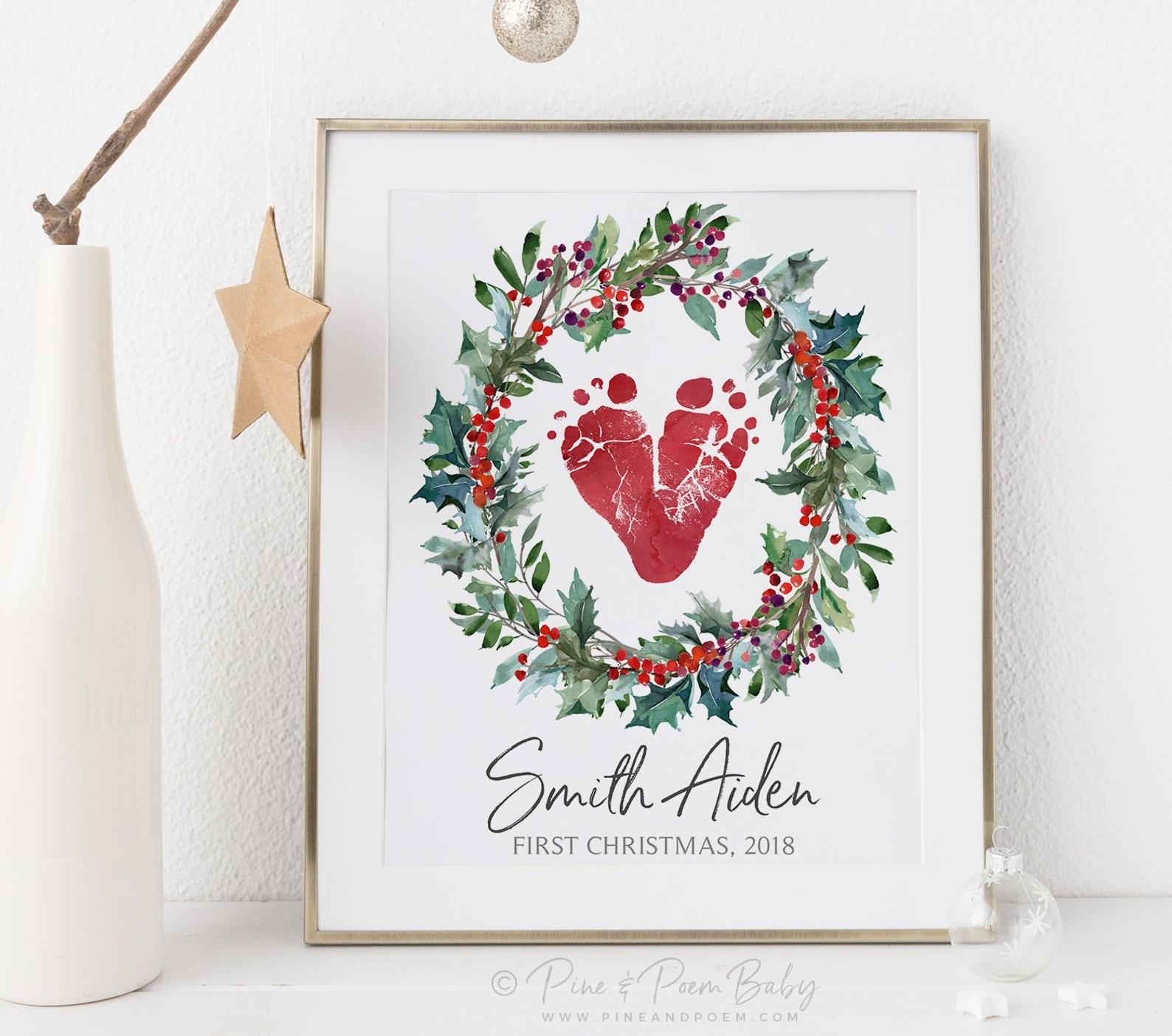 Baby's First Christmas Wreath Art Print By Pine and Poem Baby