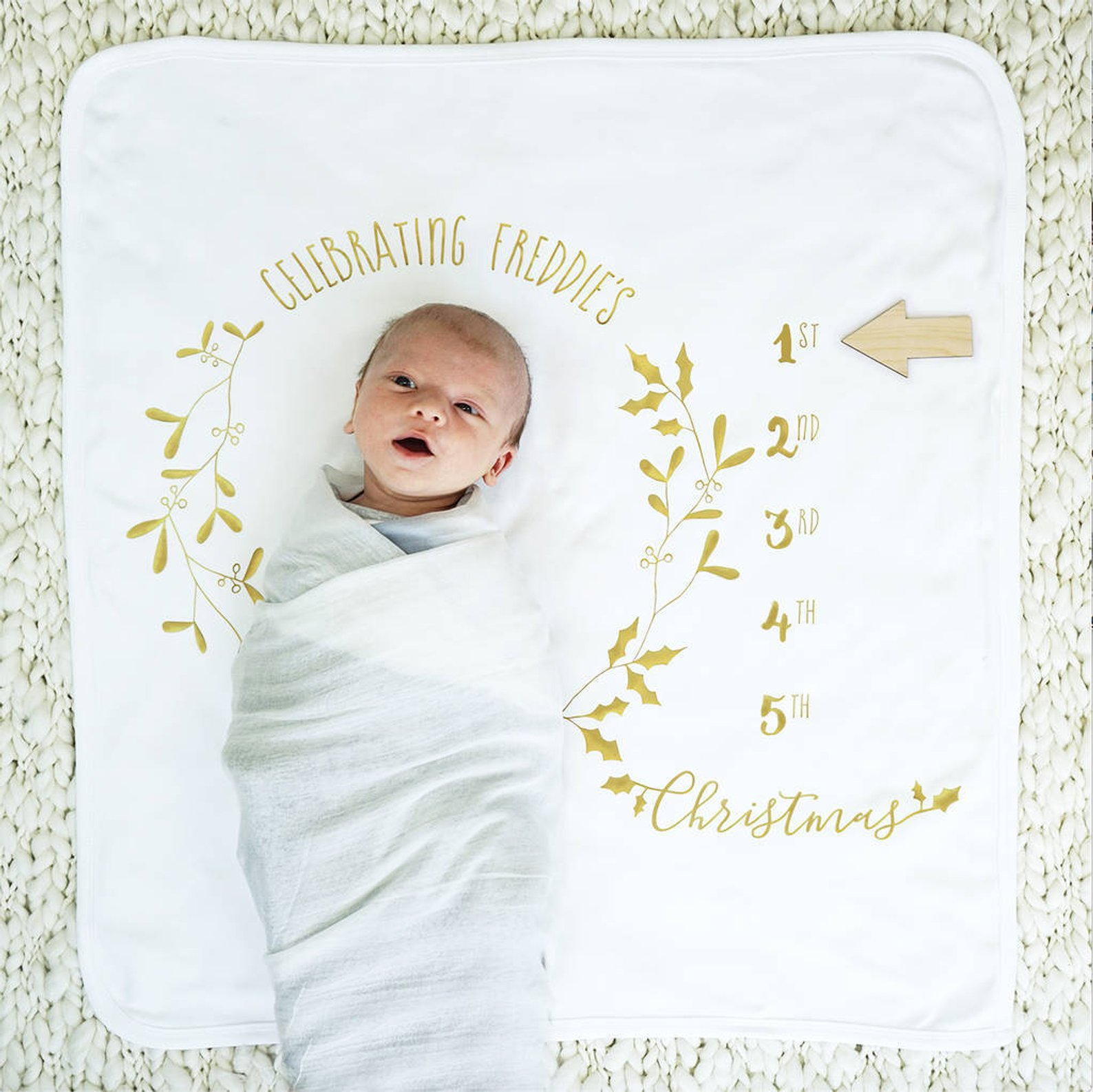 Baby Milestone Christmas Blanket By Sparks and Daughters