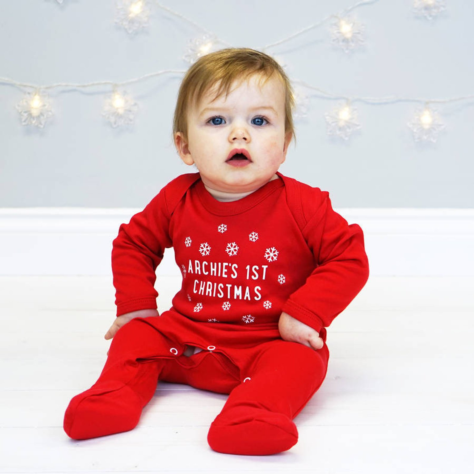 Personalized First Christmas Baby Outfit By Sparks and Daughters
