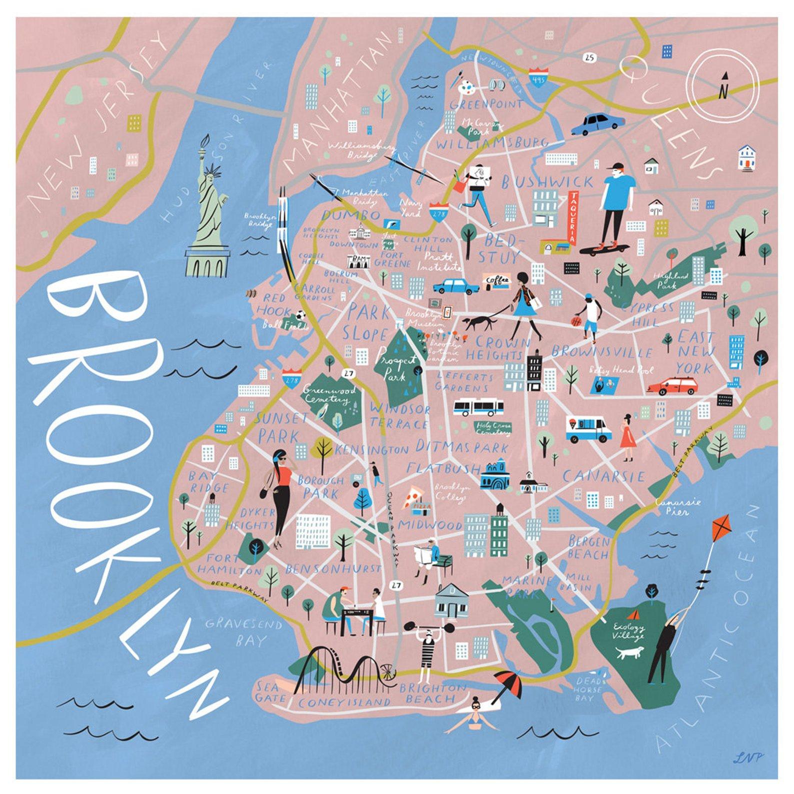 Brooklyn Illustrated Map Print By Libby Vanderploeg